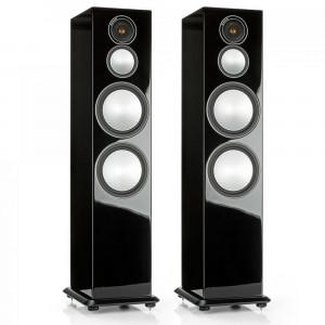 Monitor Audio Silver 10 - Par de caixas acústicas Torre 3-vias para Home Theater - Black Gloss