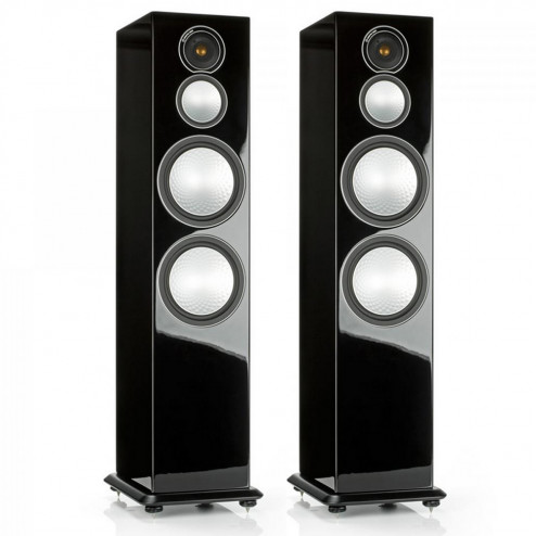 Monitor Audio Silver 10 - Par de caixas acústicas Torre 3-vias para Home Theater - Black Gloss