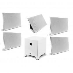 """AAT Elegance 12"""" - Conjunto 5.1 com caixas de embutir e sub ativo de 12"""" - White Lacquer"""