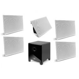 """AAT Elegance 12"""" - Conjunto 5.1 com caixas de embutir e sub ativo de 12"""" - Black Piano"""