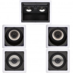 Kit 5.0 Caixas de Embutir Loud para Home Theater - 1x LHT-80 + 2x SL6-100 + 2x SQ6-100 - Branco