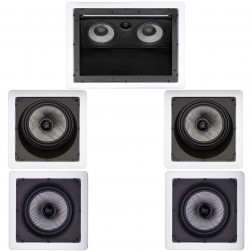 Kit 5.0 Caixas de Embutir Loud para Home Theater - 1x LHT-100 + 2x SL6-LX + 2x SQ6-LX - Branco